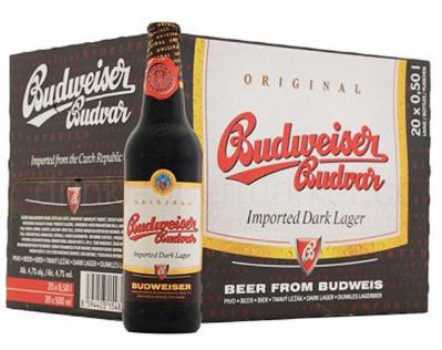 Kết quả hình ảnh cho Bia đen Budweiser Budvar Original chai 330